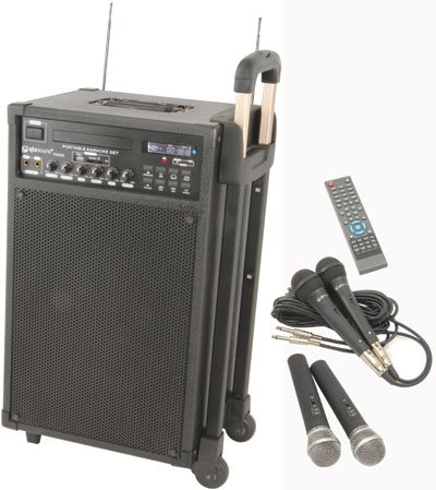 SKYTEC PORTABLE PA KARAOKE MACHINE  &  TWIN RADIO MICROPHONES AND 220 KARAOKE SONGS