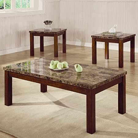 3pc Coffee Table & End Table Set Marble Top Walnut Finish