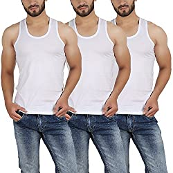 VALNSKY Mens Cotton White vest (Pack of 3)