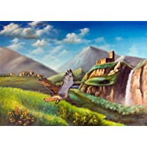 Imaginary Landscape. Illustration Hand Painted on Canvas. - Peel and Stick Wall Decal by Wallmonkeys