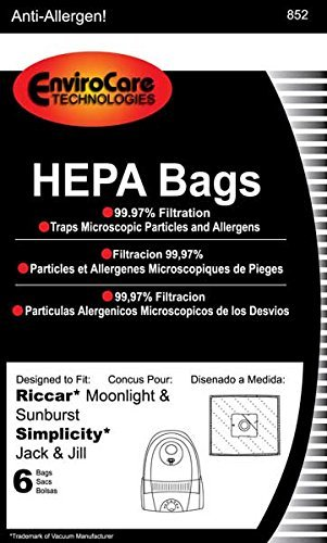Riccar Bag Paper Moonlite Canister HEPA 6 Pack Jack & Jill Sunburst GE 169072 Pizzaz Type Z (eRSR-1449) by EnviroCare (Type Z Riccar compare prices)
