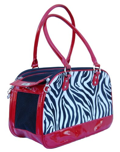 Anima Zebra Print Carrier, 16-Inch by 7-Inch by 10-Inch, Red