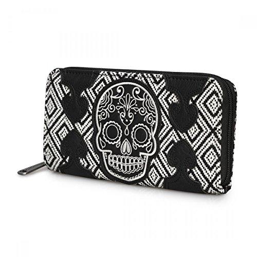 loun gefly Portafoglio da donna Tweed teschio Gothic XL-White Poison Sugar Skull portafoglio