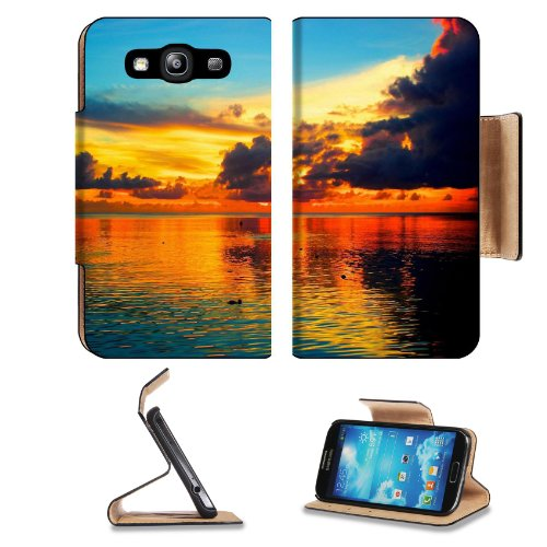 Sea Sunset Palm Tree Guam1 Samsung Galaxy S3 I9300 Flip Cover Case With Card Holder Customized Made To Order Support Ready Premium Deluxe Pu Leather 5 Inch (132Mm) X 2 11/16 Inch (68Mm) X 9/16 Inch (14Mm) Liil S Iii S 3 Professional Cases Accessories Open