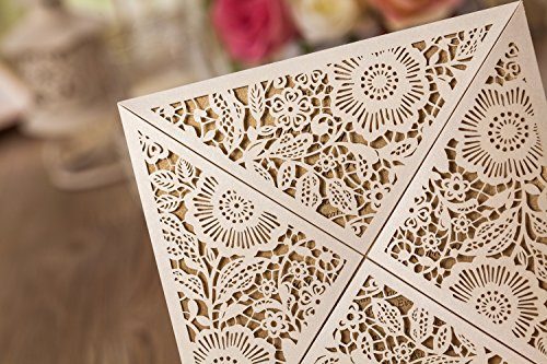 Wishmade 100x White Square Laser Cut Wedding Invitations Cards with Lace Flowers Engagement Birthday Bridal Shower Baby Shower Graduation Party Favors CW520WH 3