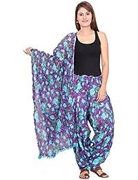 Rama Floral Print Purple And Blue Colour Free Size Cotton Fabric Full Patiala And Dupatta Set