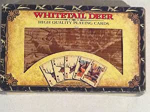 Whitetail Deer Playing Cards with Dice in Wood Box