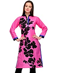 AngelFab Pink Color Cotton Fabric Women's Straight Kurti - B01LEUYUB4