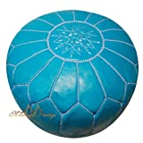 Moroccan Leather Pouf Dark Turquoise Moroccan Poufs Ottoman