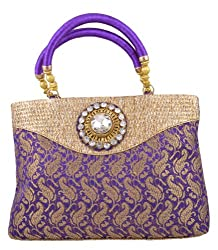 Freddys Violet Coloured Silk Ethnic Handbag With Stone Work