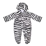 Cute Baby Infant Toddler Animal Zebra Print Jumpsuit Romper White/Black 0-12 Months