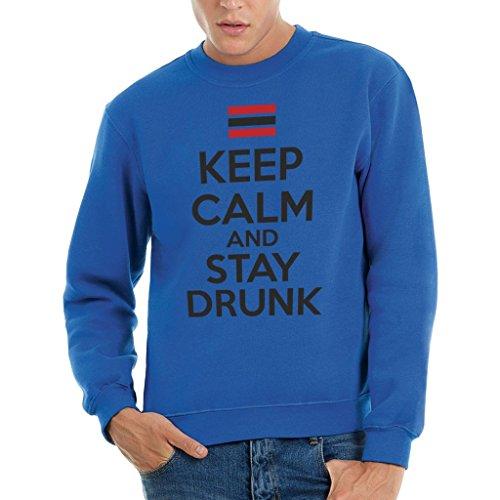 Felpa girocollo KEEP CALM AND STAY DRUNK - FUNNY by MUSH Dress Your Style - Uomo-XXL-BLU ROYAL