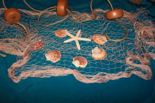 10 X 9 Fishing Net, Fish Nets, Netting, Starfish, Sea Shells, Nautical Decor,