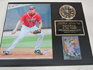 Chipper Jones Atlanta Braves Collectors Clock Plaque w 8x10 Photo and Card by J & C Baseball Clubhouse