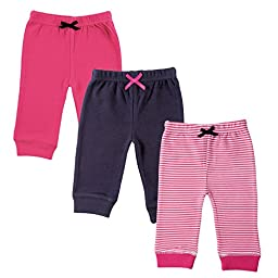 Luvable Friends 3-Pack Tapered Ankle Pants, Pink, 12-18 Months