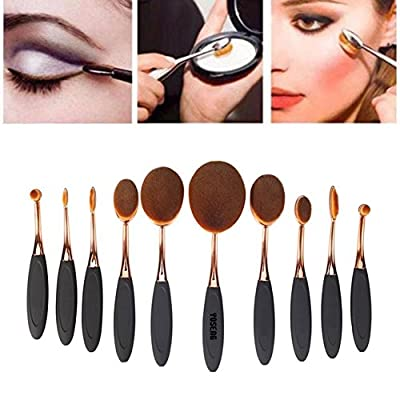 Best Cheap Deal for Yoseng 10 Pcs New fashionable Super Soft Oval Toothbrush Makeup Brush Set Foundation Brushes Contour Powder Blush Conceler Brush Makeup Cosmetic Tool Set Black Rose Golden ... from Yoseng - Free 2 Day Shipping Available