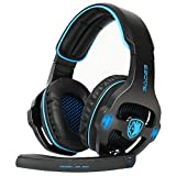 Sades SA903S 7.1 Surround Sound USB PC Stereo Gaming Headset with Microphone LED Light (Blackblue)