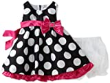 Nannette Baby-girls Infant Shangtung Dress With Dot Print, Black, 12 Months