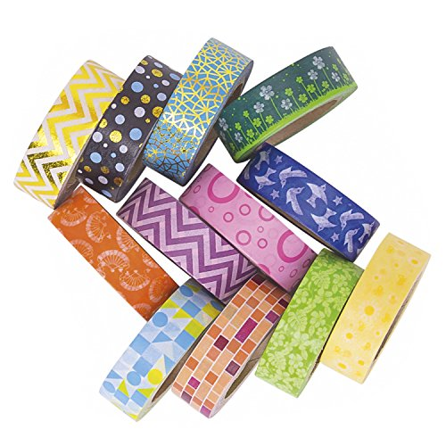 Decorative Washi Tape Set 12 Rolls, Rainbow Washi Tapes Kit for Scrapbooking, DIY Projects, Decorating, Kids Fun (Advanced Duct Tape compare prices)