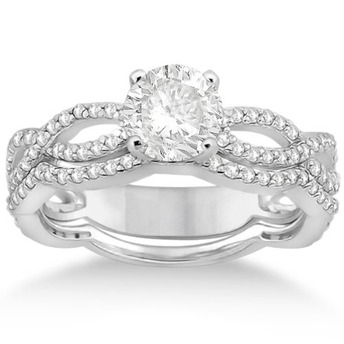 Twisted Eternity Round Diamond Engagement Ring With Wedding Band 18K White Gold Bridal Set (0.65Ct)