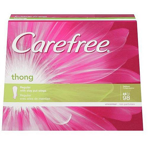 Carefree Thong Pantiliners, Regular Protection, Unscented, 98 Count