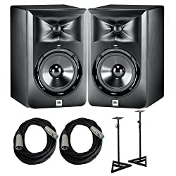 JBL LSR 305 Pair of studio monitors with Cables and Stands Bundle from JBL