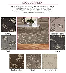 3\'x5\' Batik - SEOUL GARDEN Floral with an Asian Flair - Custom Carpet Area Rug - 40 Oz. Tufted, Pinpoint Saxony - Nylon by Milliken (7 Colors to Choose From)