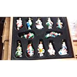 Thomas Pacconi Classics 2002 Collection of 12 Blown Glass Snowman Ornaments
