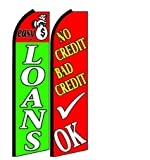 Easy Loans, No Credit Bad Credit Ok King Size Swooper Flag Sign Pack of 2