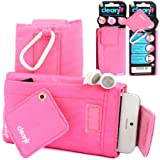 GLITZY GIZMOS PINK CLEAN IT QUALITY LUXURY PREMIUM MICROFIBRE LINING PADDED SOCK COVER WALLET CASE POUCH WITH CARABINER SECURE CLIP FOR APPLE iPHONE 4 4G 4S 4TH GENERATION GEN / iPHONE 5 5S 5C 5G 5TH GENERATION GEN / iPOD TOUCH 4 4TH GENERATION GEN / iPOD TOUCH 5 5TH GENERATION GEN / SAMSUNG GALAXY S3 III MINI I8190 / S4 MINI SIV I9190 / NOKIA LUMIA 510 / 610 / 620 / 520 / SONY XPERIA (VARIOUS OTHER DEVICES OF SIMILAR SHAPE AND SIZE)