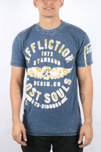 Affliction - Mens Master Bulkhead T-Shirt In Navy Blue Burnout Wash, Size: Large, Color: Navy Blue Burnout Wash