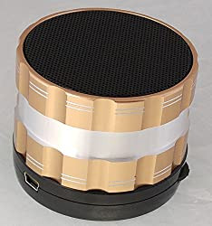 Portable Bluetooth Wireless Speaker with Microphone - Powerful Wireless Speaker - Compatible with iPhones, Samsung, Galaxy,Nokia, HTC, Blackberry, Google, LG, Nexus, iPad, Tablets, Mobile Phones, Smartphones, PC's, Laptops etc. Gold