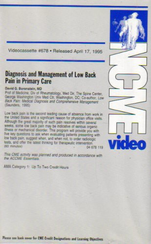 Diagnosis and Management of Low Back Pain in Primary Care (NCME Video 678)