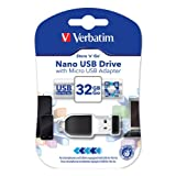 Verbatim 32GB Store 'n' Go Nano USB Flash Drive with USB OTG Micro Adapter 49822