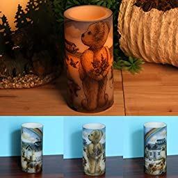 Home Impressions 3X6 Inches Lovely Bear Decal Flameless Led Pillar Candle light With Timer,Battery Operated