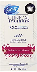 Secret Clinical Strength Smooth Solid Women's Antiperspirant & Deodorant Fresh Water Orchid Scent 1.6 Ounce