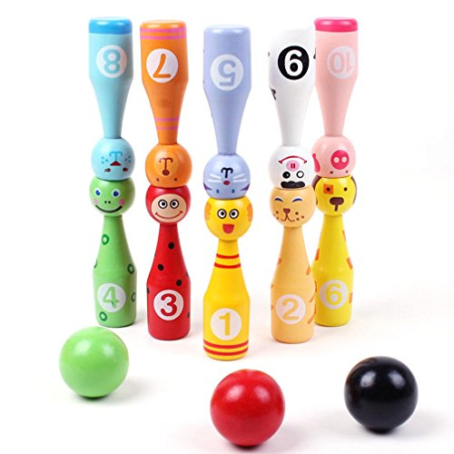 SUNONE11 10 Animals Pins 3 Balls Wooden Bowling Ball Games Toys 1-10 Number Color Recognition Education Kids Creative Birthday Present Christmas Gift
