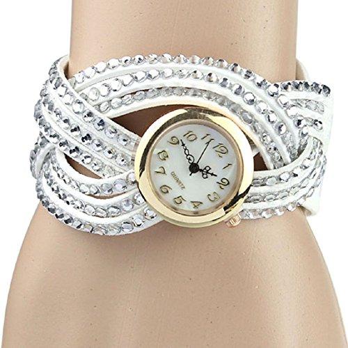 Zps(Tm) Vintage Leather Bracelet Woman Rivet Bracelet Quartz Wrist Watch (White)