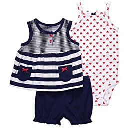 Carter\'s Infant Girls 3pc Short Set Hearts Size 3Mos