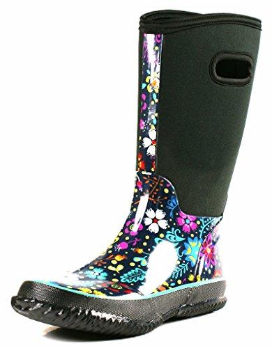 OwnShoe Womens Mid Calf Winter Snow Neoprene Rain Boots, 8 D(M) US (Neoprene Rain Boot Liners compare prices)