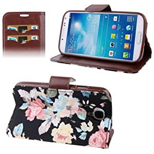 Crazy4Gadget Cloth Texture Peony Pattern Leather Case with Credit Card Slot & Holder for Samsung Galaxy S IV / i9500(Black)