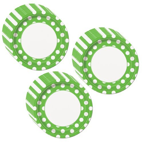 Lime Green Polka Dot Party Dinner Plates - 24 Guests
