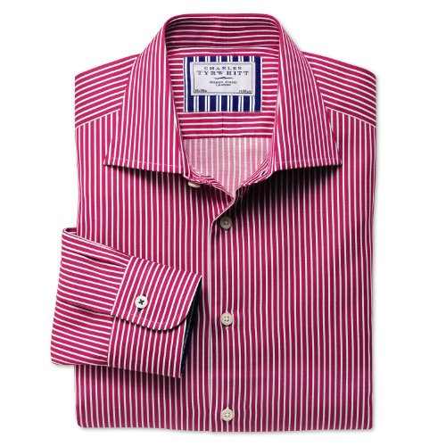 Charles Tyrwhitt Pink and white stripe business casual classic fit shirt (15 - 33)