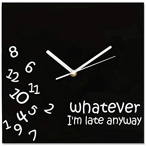 "Whatever, I'm Late Anyway Novelty Fallen Numbers Wall Clock 12"" Square"