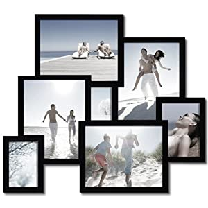 Adeco 7-Opening Decorative Wood 3D Collage Wall Hanging Picture Frame, Black