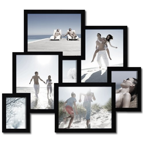 adeco 7 opening decorative wood 3d collage wall hanging picture frame black coconuas219. Black Bedroom Furniture Sets. Home Design Ideas