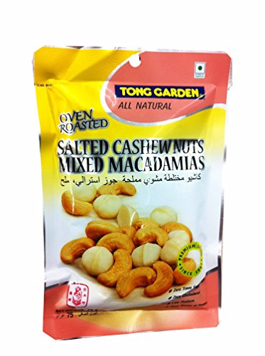 3 Packs of Oven Roasted Salted Cashew Nuts Mixed Macadamias By Tong Garden. Zero Trans Fat, Zero Cholesterol, Low Sodium, Good Source of Protein. (75 G/ Pack).