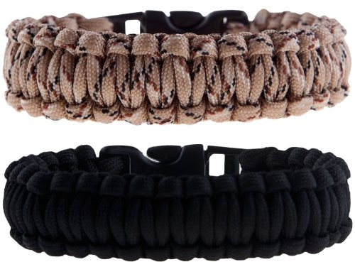 "2 Pack of Premium Paracord / Para-cord Survival Bracelets 9"" (Large) - 7/8"" Buckle, 4-Strand Core, 13.1 feet, 7 inner yarns - Black & Desert Camo - The Friendly Swede® Paracord Series (S350/78/4/-9BC) - In Retail Packaging with Branded Buckle"