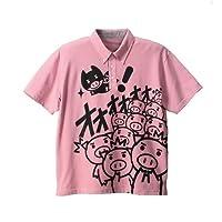 (ぶーでんしょうてん)豊天商店 <大きいサイズ>BUTTAMAN柄鹿の子半袖ポロシャツ