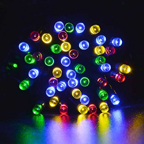 lederTEK Solar Powered Fairy String Lights 39ft 12m 100 LED 8 Modes Christmas Lights for Outdoor, Gardens, Homes, Wedding, Christmas Party, Waterproof (100 LED Multi-color)
